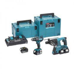 Makita DLX2137PMJ 18V Combi & SDS Hammer Twin Pack 4 x 4,0 Ah batterijen